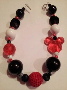 Red, black, and white mickey chunky necklace