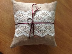 Hessian and Lace Ring Cushion £10.00