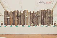 Ivory, Tiffany Blue, and Burlap wedding- barnwood backdrop, rustic vintage gorgeousness!