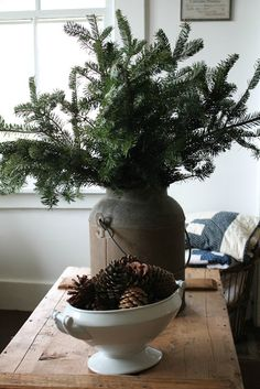 Love the use of natural elements to accent prim treasures. different types of pine, pinecones, mistletoe, branches with berries. Can't beat those prices! Natural Christmas, Country Christmas, Simple Christmas, Winter Christmas, Vintage Christmas, Primitive Christmas, Xmas Decorations, Christmas Inspiration, Holiday Decor