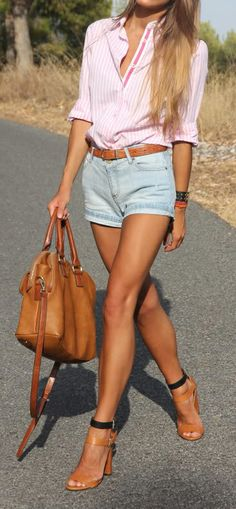 Pair denim shorts with cute blouse and great heels for a cute everyday summer look