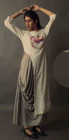 Beautiful Silk Kurti with draped pant and with beautiful embroidery. Superb silhouettes and detailing . Ethnic Fashion, Indian Fashion, Boho Fashion, Fashion Dresses, Fashion Design, Kurta Designs, Blouse Designs, Indian Attire, Indian Wear