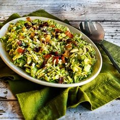 Brussels Sprouts Salad with Bacon, Dried Cranberries, Almonds, and Parmesan [from KalynsKitchen.com]
