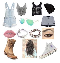 """""""Before and after the bf.  I'm left"""" by sillylilli02 on Polyvore featuring H&M, adidas, Rick Owens, Ray-Ban, Lizzy James, Lime Crime, Converse and Ariat"""