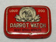 Parrot bird watch gramophone needle tin
