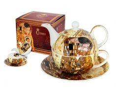 Ekskluzywny zestaw do herbaty: duża filiżanka z podstawkiem + imbryczek. Tea For One, The Kiss, Gustav Klimt, Tea Party, Tableware, Calming, Bedroom Ideas, Artist, Kiss