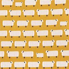 mustard yellow Sheep animal sheep Canvas fabric Charms Kokka