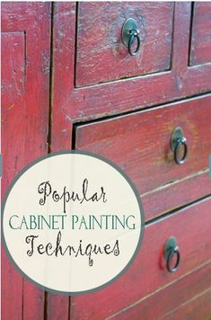 """Here are some current, popular kitchen cabinet and other cabinet painting techniques. Hopefully these will give you ideas of things you can do with your own cabinets."""
