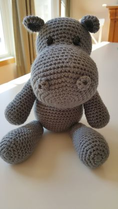 This cute little stuffed hippo is perfect for baby! Its made out of soft yarn and stuffed with fiber fill so its super cuddly. This cute