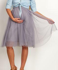 Look at this #zulilyfind! PinkBlush Gray Tulle Mesh Maternity Midi Skirt by PinkBlush Maternity #zulilyfinds