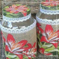 Potes com tampa decorados com Juta, chita e Fita