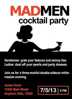 Hey, I found this really awesome Etsy listing at https://www.etsy.com/listing/130692080/mad-men-1960s-cocktail-party-birthday
