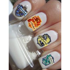 Gryffindor Slytherin Ravenclaw Hufflepuff Nail Decals ($4.50) found on Polyvore