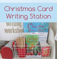 Christmas Card Writing Station - Looks MUCH nicer than the grocery bag I am using and shoving everything in... :-)
