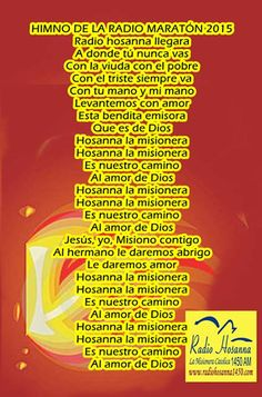 Radio Hosanna 1450 AM.  La Misionera.: Himno de la Radiomarathon 2,015
