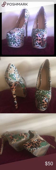 Liliana camp/leopard platform pumps 🎶6 inch heels 🎶 UNIQUE tan/green/orange/white platform pumps. In excellent condition. 2 inch platform. Size 6. Liliana Shoes Platforms