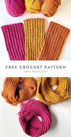 Crochet Scarves, Knit Crochet, Crochet Hats, Beginner Crochet Projects, Crochet For Beginners, Hand Knitting, Knitting Patterns, Free Pattern, Tejidos