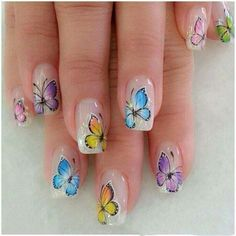 39 Butterfly Nail Art Designs You Will Like Butterfly Nail Designs, Butterfly Nail Art, Nail Art Designs, Butterfly Wedding, Elegant Nail Art, Beautiful Nail Art, Spring Nail Art, Spring Nails, Summer Nails