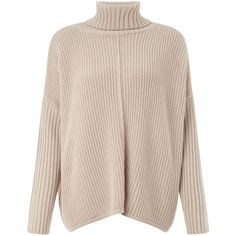 Miss Selfridge Camel Chunky Roll Neck Jumper ($50) ❤ liked on Polyvore featuring tops, sweaters, brown, women, brown sweater, cotton sweater, rollneck sweater, oversized tops and pink sweater