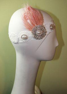 1920s Style White Headband - Vintage Inspired - Flapper Headband - Bridal - Pink Feather - OOAK