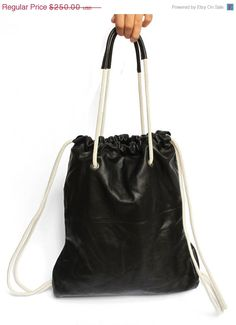New year SALE Black Leather BackpackTote bag JUD Hand by JUDtlv, $212.50