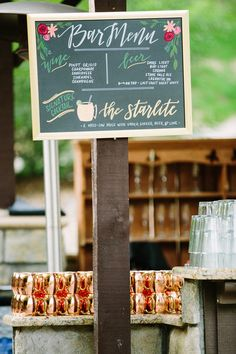 If you're a cocktail-loving couple, one of your favorite parts of wedding planning is sure to be nailing down your signature cocktails — and, of course — those unique signature cocktail names. Wedding Signature Drinks, Signature Cocktail, Chalkboard Wedding, Wedding Signage, Chalkboard Bar, Wedding Reception, Cocktail Names, Cocktail Menu, Drink Names