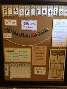 "A ""fitspiration"" board I made to motivate weightloss. Visual for weight to go, and weight lost. Also, motivational quotes, reminder of rewards, and goals. So easy to make and it is a great reminder to keep working hard!                                                                                                                                                                                 More"