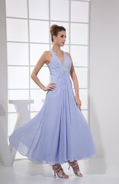 Lavender Modest A-line V-neck Sleeveless Criss-cross Straps Chiffon Bridesmaid Dress
