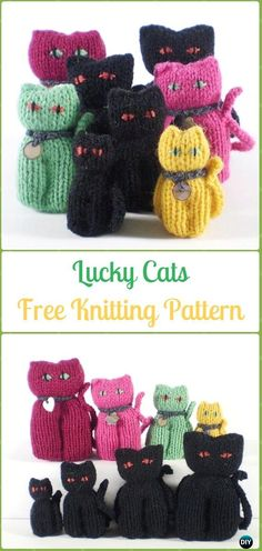 Amigurumi Lucky Cats Softies Toy Free Knitting Pattern - Knit Cat Toy Softies Patterns