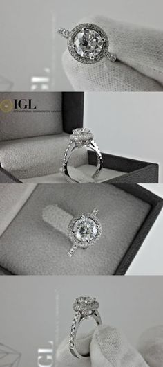jewelry: 2.56 Ct Round Diamond Engagement Ring 14 K White Gold BUY IT NOW ONLY: $4399.0