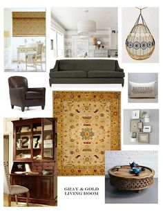 @Betsy Cain.  Gray & gold living room moodboard.  Many of these images inspired how we decorated our living room. We did a similar look on a budget.