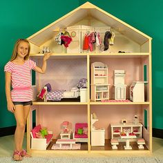 Wooden dollhouse to fit American Girl Dolls  $239 will be making Miracle on like this but nicer!