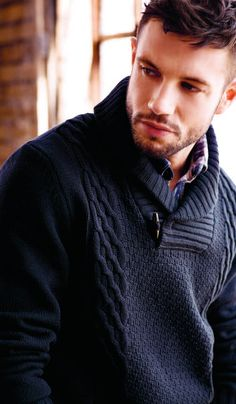 """""""shawl-collar sweater; the cabling is nice in part because it's not all over, I think"""""""