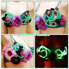 Neon Garden Glowing Rave Bra, Size 34C   ---  Original Electronic Couture on Etsy, $50.00