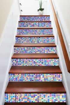 Wallpaper Removal – A Quick and Easy How-To Mosaic Stairs, Mosaic Tiles, Outdoor Tiles Floor, Painted Stair Risers, Deco Disney, Tile Steps, Front Stairs, Tiles Texture, Texture Art