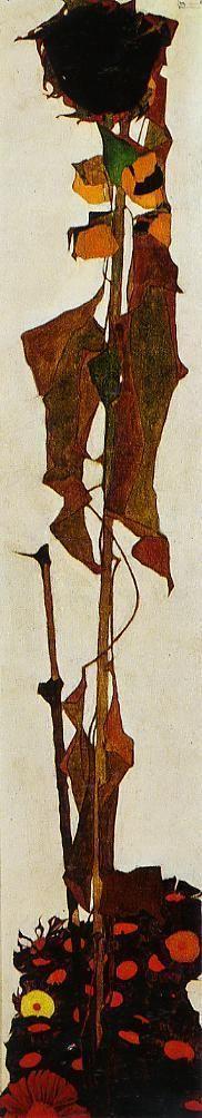 エゴン・シーレ 「ヒマワリ」 1909  150 x 30 cm   ウィーン美術史美術館