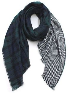 Plaid Blanket Scarf - Double Green/Navy/Hound