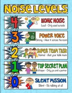 Superhero voice/noise level chart An effective classroom management strategy to control voice and noise level in your classroom.