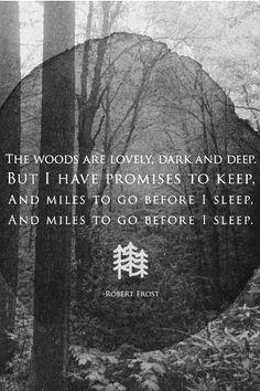 Os bosques são adoráveis, escuros e manter  mas eu tenho e promessas manter  e milhas a percorrer antes de dormir  e milhas a percorrer antes de dormir Stopping By Woods on a Snowy Evening by Robert Frost