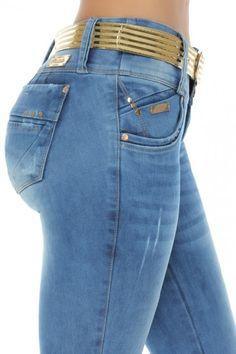 Pantalones señora High waist pantalones con glitzerstreifen y cinturón