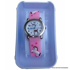 Pony Design Watch - Pink Analogue watch with raised pony design wrist band makes this watch the perfect gift for a little girl With a colourful and Riding Hats, Country Outfits, Little Girls, Pony, Watch, Gifts, Accessories, Color, Design