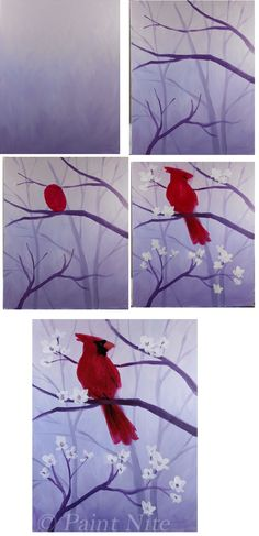 Spring Cardinal Process, atmospheric perspective, space, value, emphasis