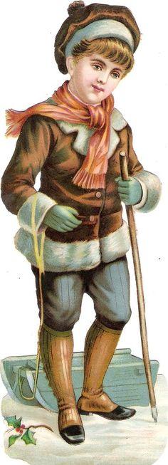 Oblaten Glanzbild scrap die cut chromo Winter Kind 21,5cm child Schnee snow boy in Sammeln & Seltenes, Büro, Papier & Schreiben, Papier & Dokumente   eBay