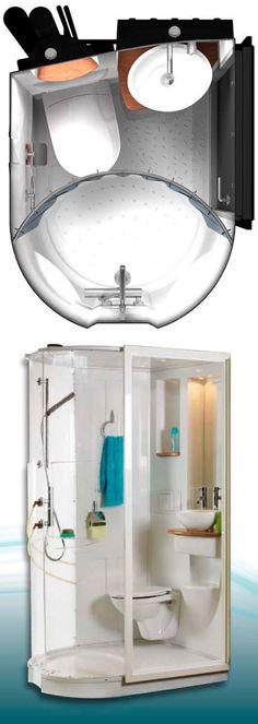 Aquadream Aquacool Contemporary precast ceramic bathroom pod for professional use (collective housing applications such as student dorms, clinics, group homes, etc.).