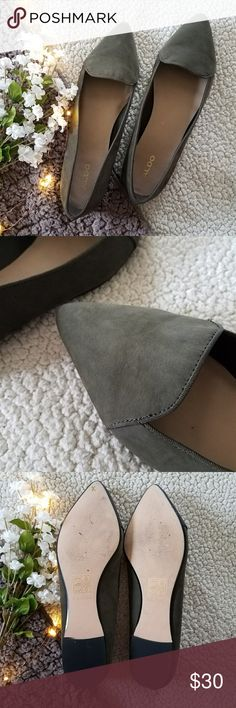 Aldo Green Pointed Flats Size 10 Excellent condition, and have only been worn a couple times or so. Very light creasing on the toe (picture 2). Green faux suede material. Please ask for any additional measurements/pics! Please Note: Everything is shipped from a home with cats! Aldo Shoes Flats & Loafers