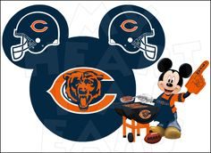 Chicago Bears football with Mickey Mouse INSTANT DOWNLOAD digital clip art :: My Heart Has Ears