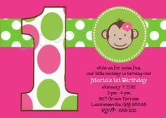 Monkey Birthday Invitation Mod Monkey Birthday Party Invitation Pink and Green Printable