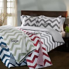 Chevron Stripe Flannel Reversible 3-piece Duvet Cover Set