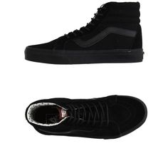 Vans High-tops & Trainers ($225) ❤ liked on Polyvore featuring shoes, sneakers, black, kohl shoes, leather trainers, black flat shoes, black leather trainers and leather flat shoes
