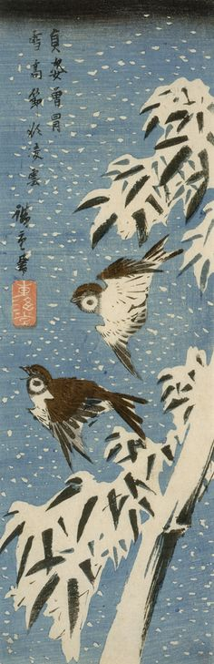 Sparrows and Bamboo in Snow, c. 1830s. Utagawa Hiroshige, 1797-1858. Edo period. Woodblock print, ink and color on paper.